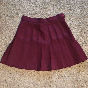 American Apparel Maroon Tennis Skirt